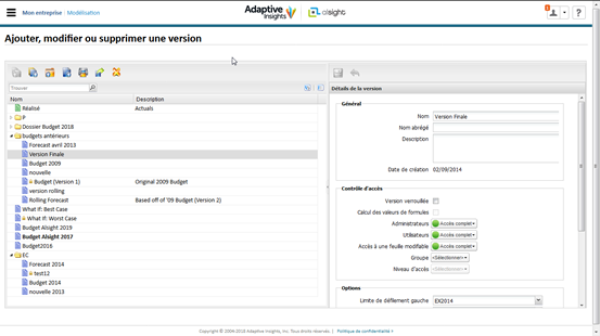 Version management et scénarios dans Adaptive Insights
